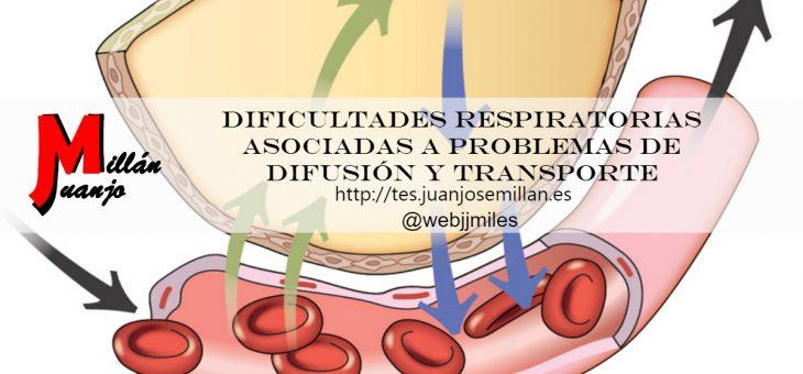 Dificultades respiratorias asociadas a problemas de difusión y transporte